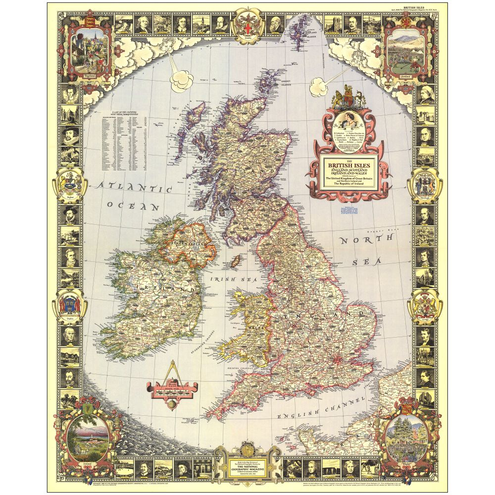 1949 British Isles Map  National Geographic Store