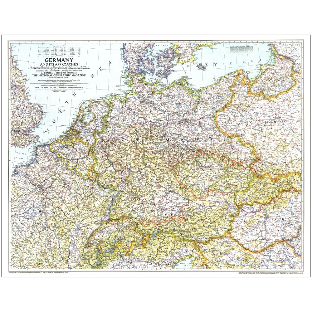 Germany And Its Approaches Map National Geographic Store - Germany map pre ww2