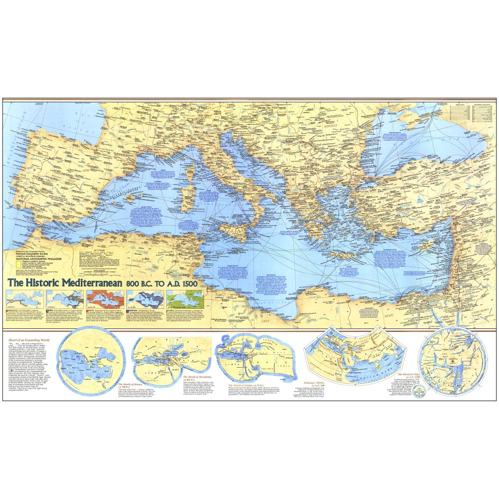 Historic Mediterranean 800 BC to AD 1500 Map  National
