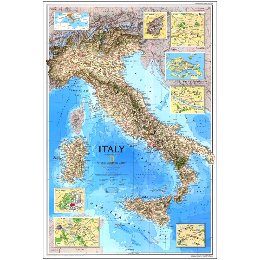 Italy Map National Geographic Store - Map of italy
