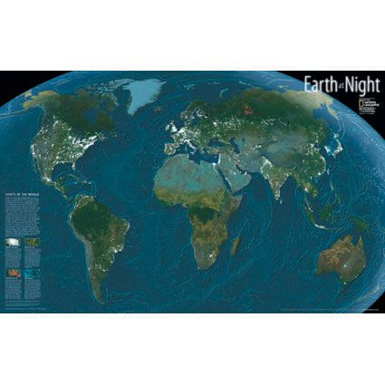 Earth At Night Map Mounted National Geographic Store - Earth at night map