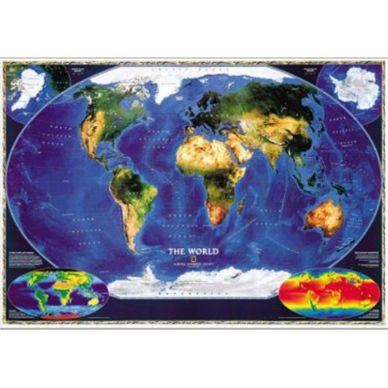 World Satellite Map Mounted National Geographic Store - Satellite map