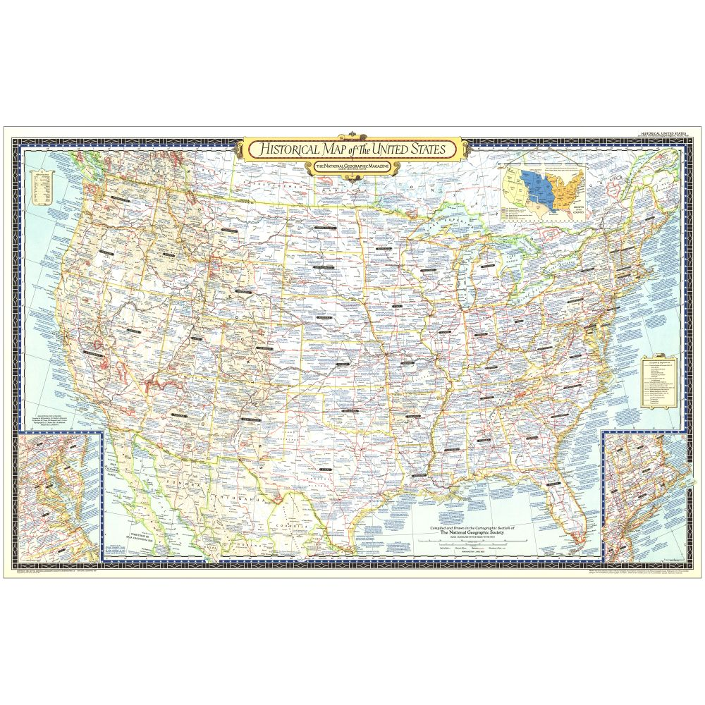 Historical Map Of The United States National Geographic Store - National geographic us map