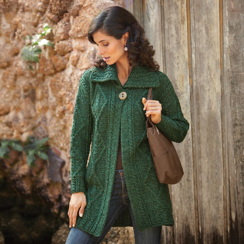 Women's Irish Aran Sweater Jacket - National Geographic Store