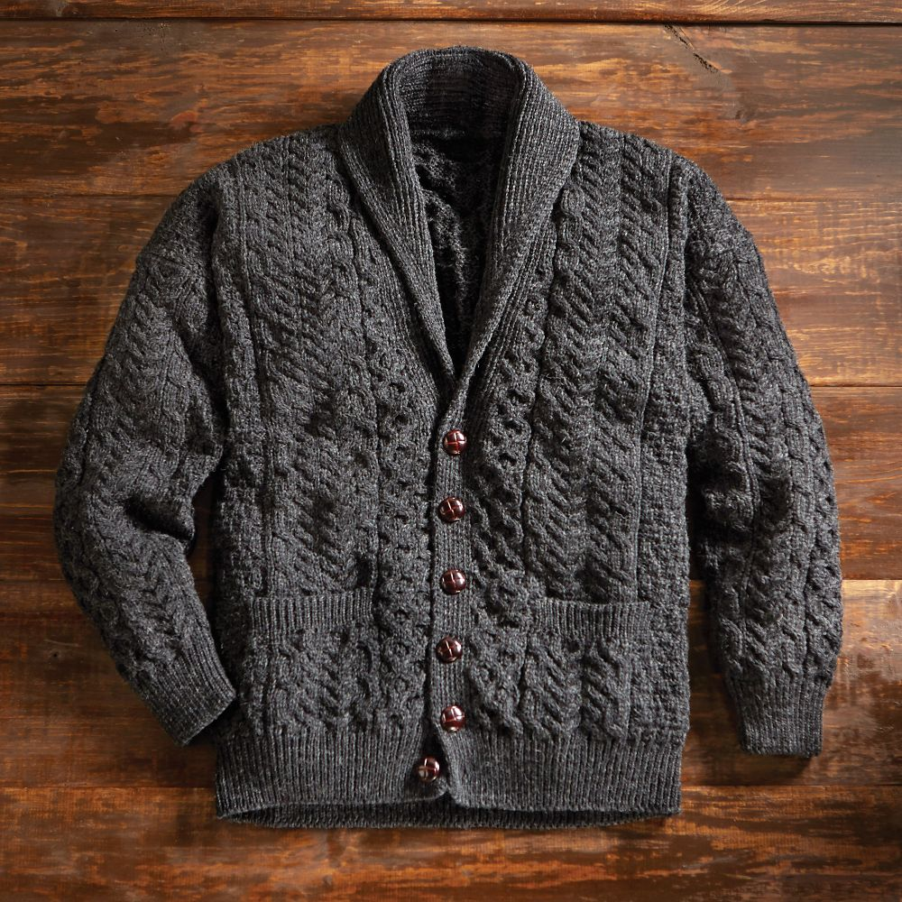 Knitting Pattern Cardigan Shawl Collar : Mens Aran Shawl-collar Cardigan - National Geographic Store