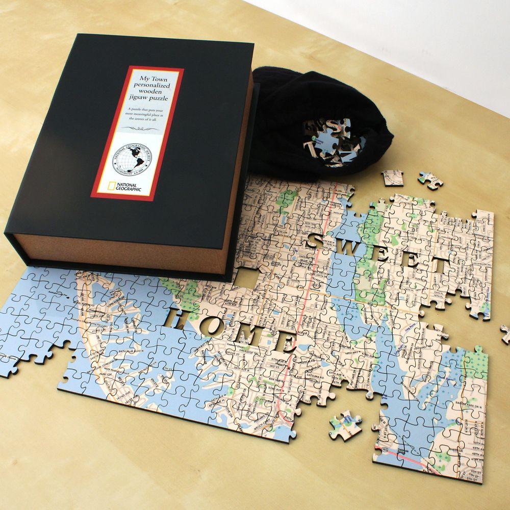 My Town Custom Wooden Jigsaw Puzzle National Geographic Store - National geographic us map puzzle