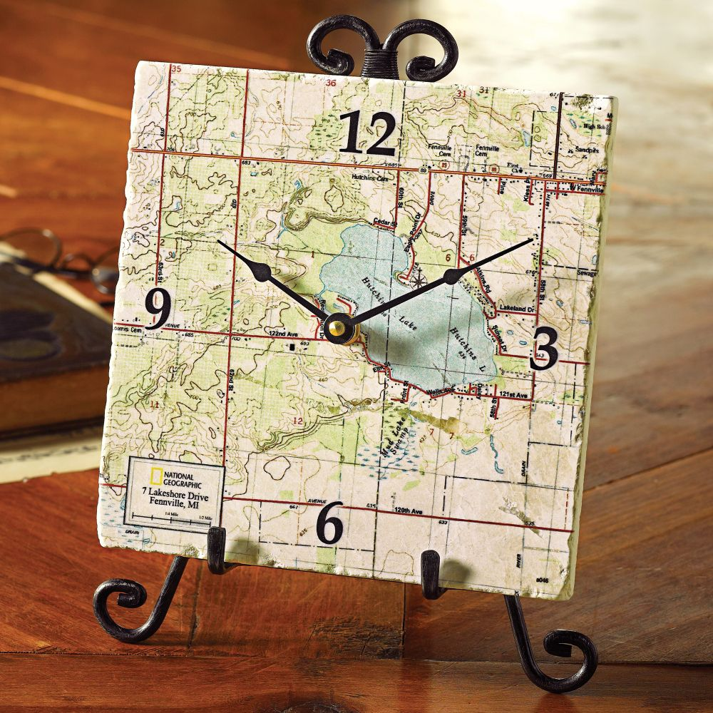 My town custom map clock easel national geographic store for Birthday gifts for travel lovers