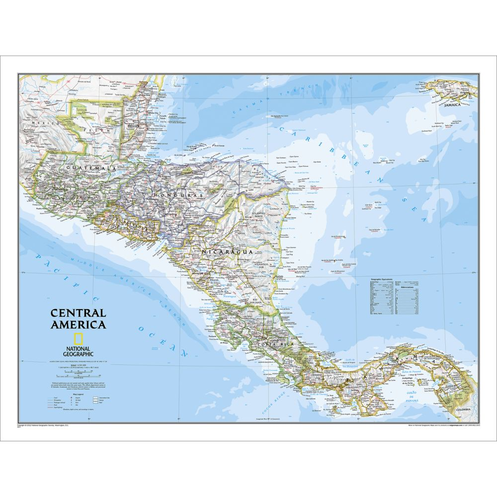 Central America Classic Wall Map National Geographic Store - Central america map