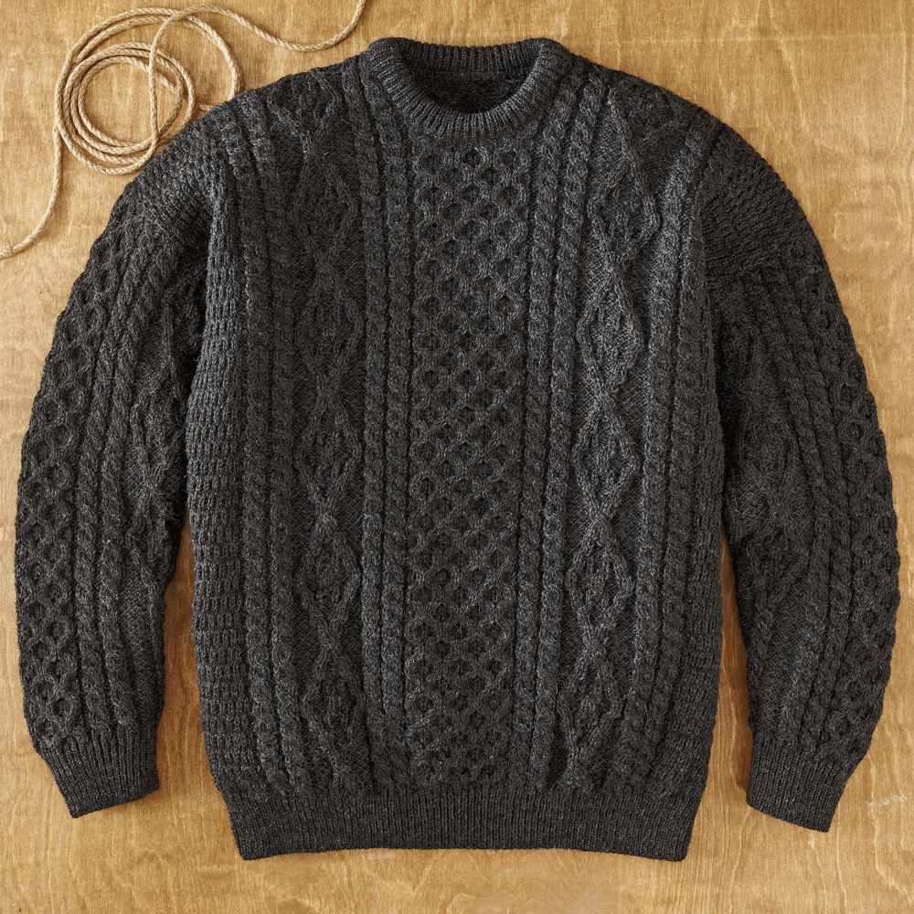 Knitting Patterns Irish Fisherman Sweaters : Galway Bay Fishermans Sweater - National Geographic Store