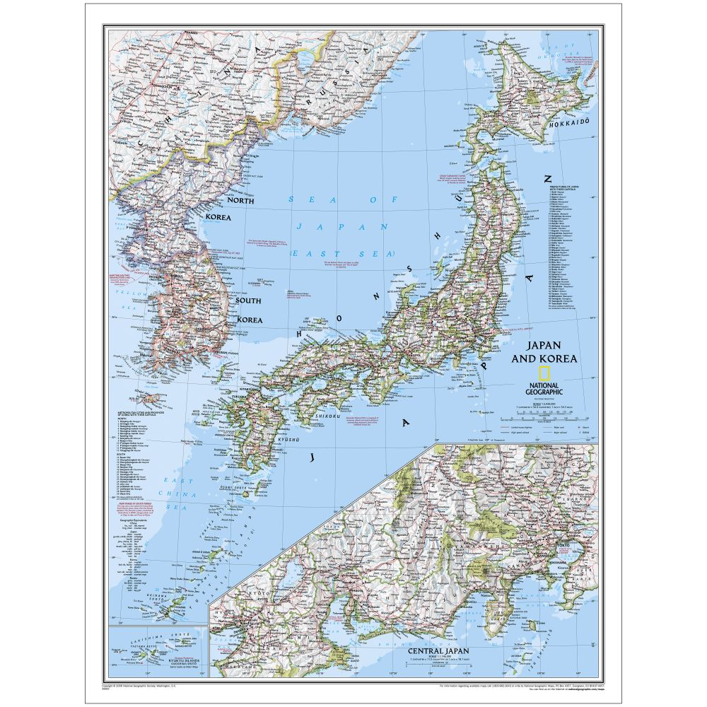 Japan And Korea Political Map National Geographic Store - Japan map political