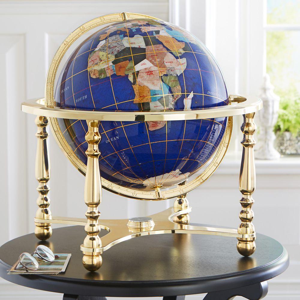 Semiprecious Inlaid Gemstone Globe National Geographic Store