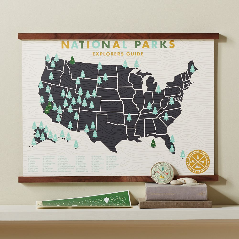 Track Your Adventures National Parks Framed Map Set National - Wall map of us national parks