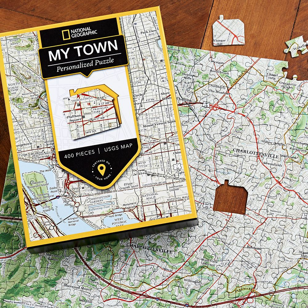 Nat Geo My Town Custom USGS Map Puzzle National Geographic Store - National geographic us map puzzle