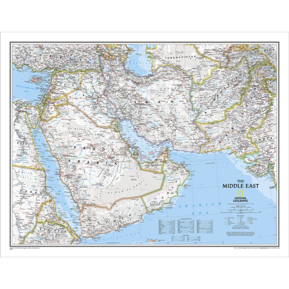 Middle East Wall Map National Geographic Store