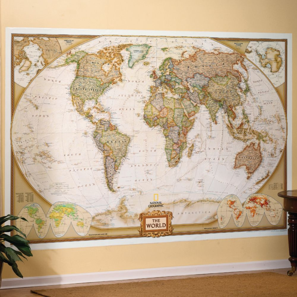 World Executive Wall Map Mural National Geographic Store - Us map with world map in the corner