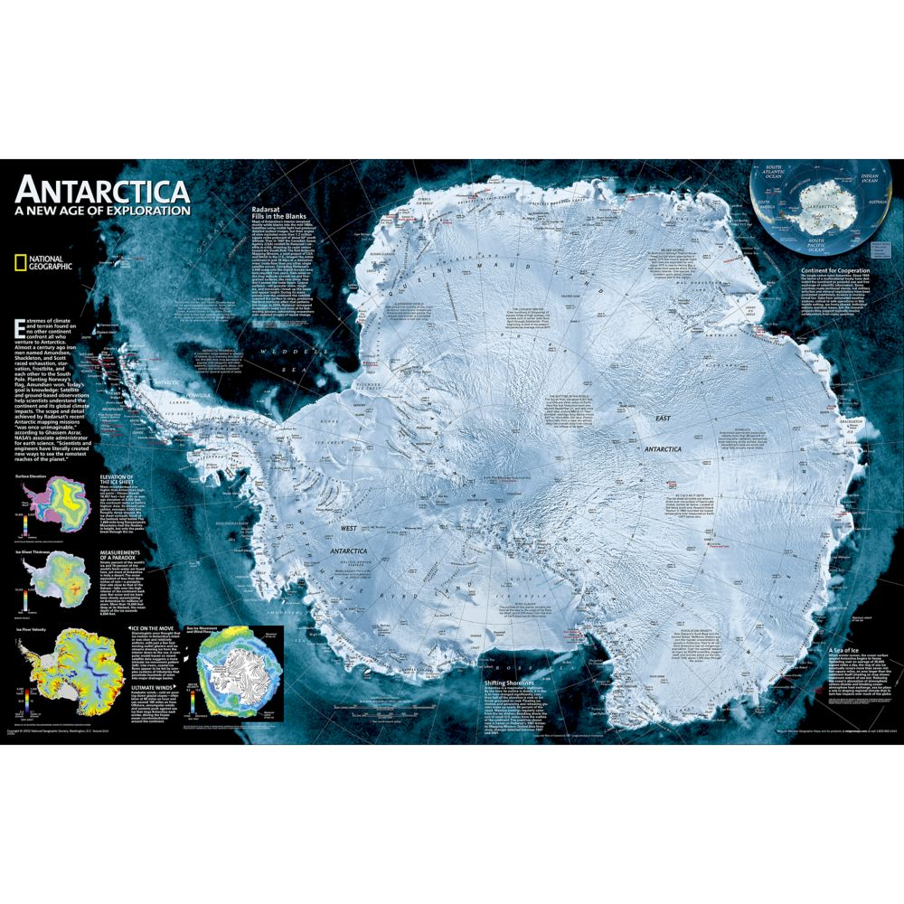 Antarctica Satellite Wall Map National Geographic Store - Antarctica maps