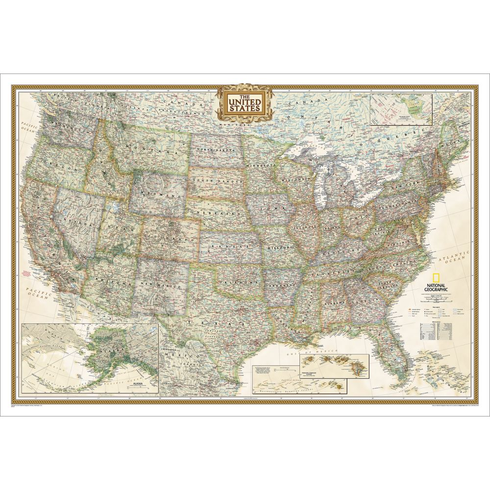 United States Executive Wall Map National Geographic Store - World map of the united states