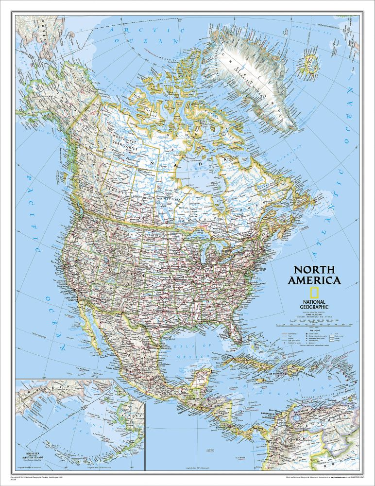 North america classic wall map enlarged and laminated national north america classic wall map enlarged and laminated national geographic store sciox Images