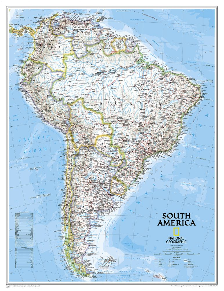 South America Political Map Enlarged And Laminated National - National geographic political map