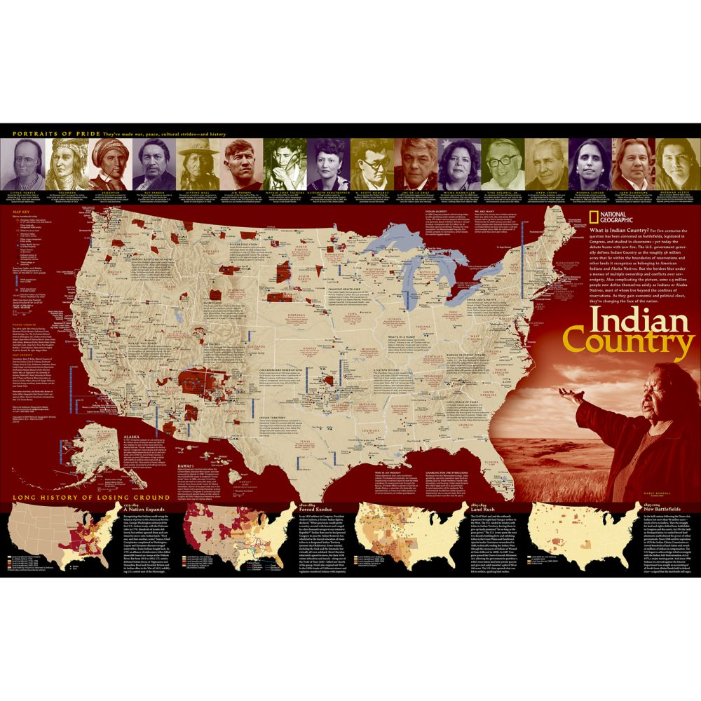indian country wall map national geographic store
