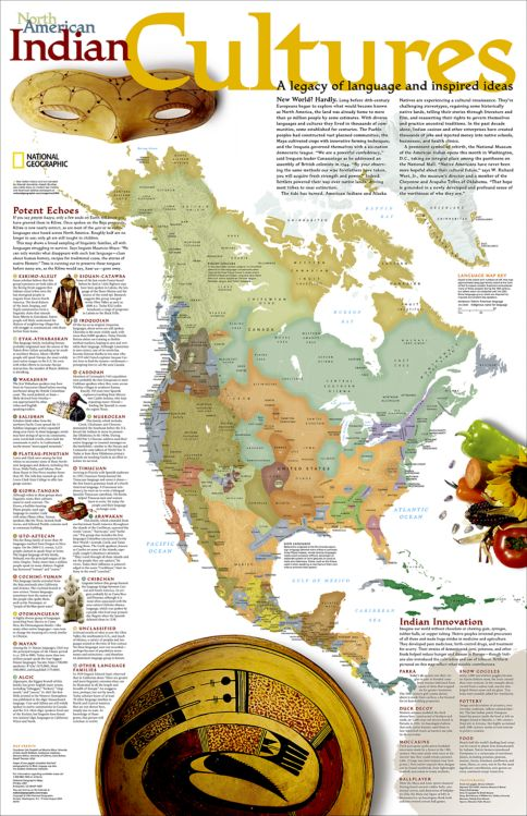 North American Indian Cultures Wall Map National Geographic Store - Map of us with native american tribes north america
