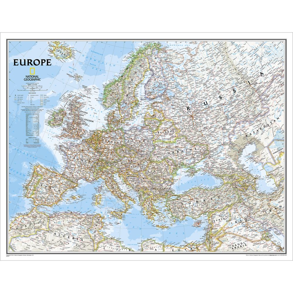 europe executive wall map enlarged and laminated national