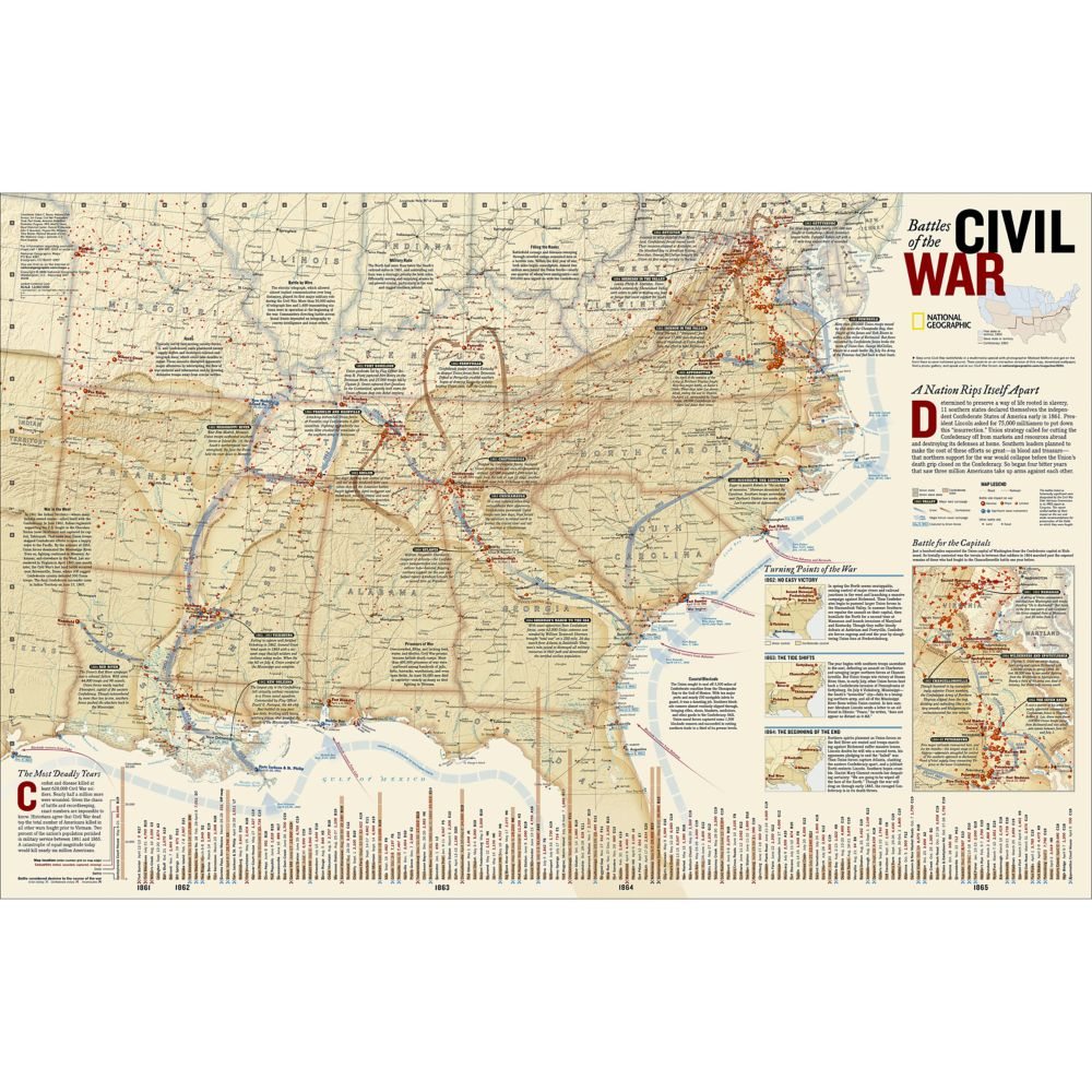 Battles Of The Civil War Wall Map National Geographic Store - Map of us at start of civil war