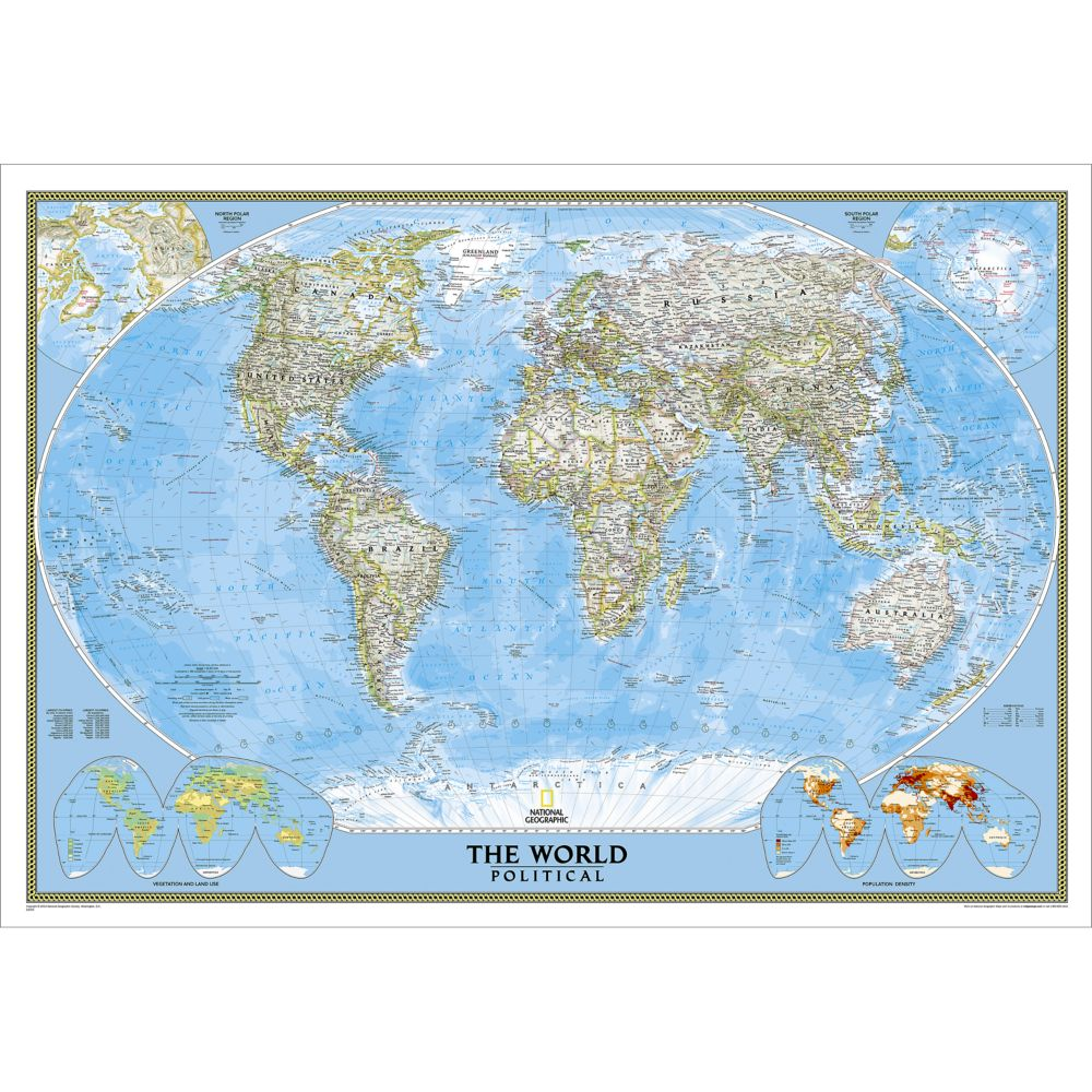 Framed Laminated Wall Maps National Geographic Store - World map for sale