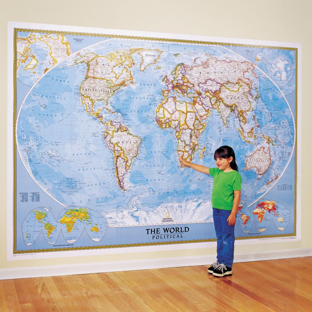 World map posters wall maps of the world national geographic store world classic wall map mural sciox Gallery