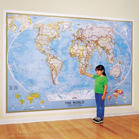 World Classic Wall Map Mural  National Geographic Store