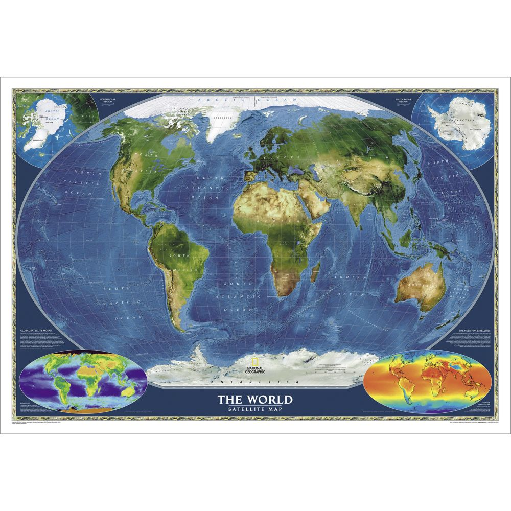 World Satellite Wall Map Laminated National Geographic Store - Maps earth satellite