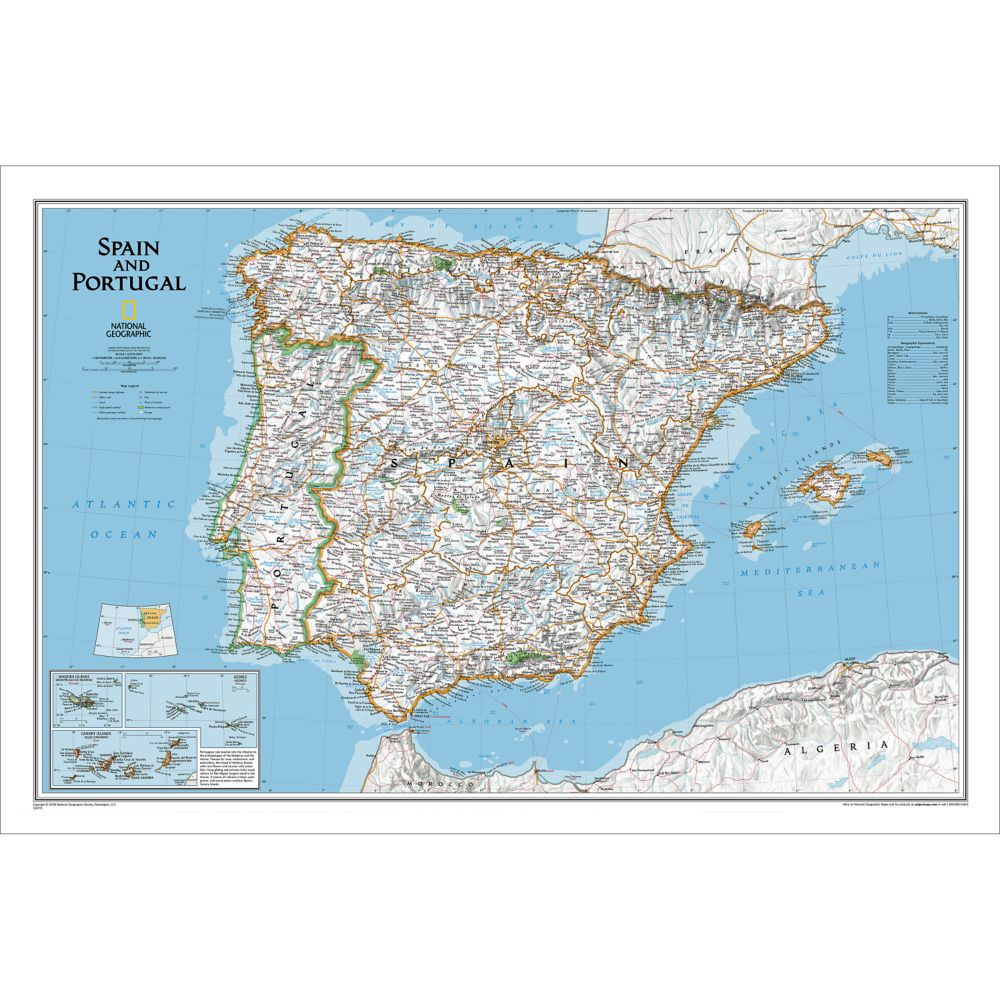 Spain And Portugal Political Map National Geographic Store - Spain political map