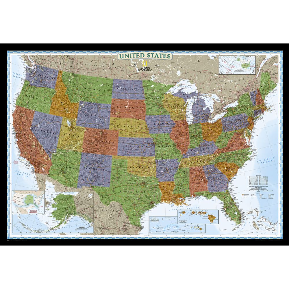 United States Decorator Wall Map National Geographic Store - States map of the united states