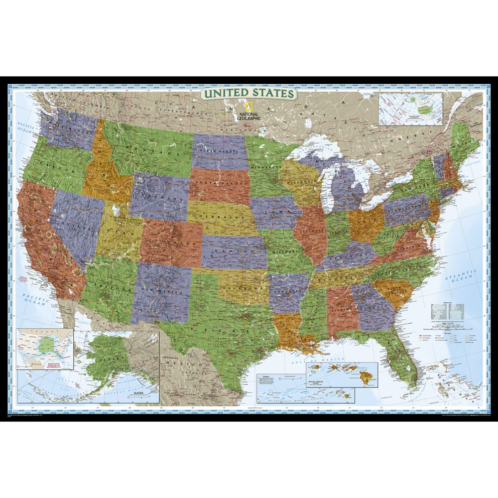 United States Decorator Wall Map Enlarged And Laminated - Large us wall map