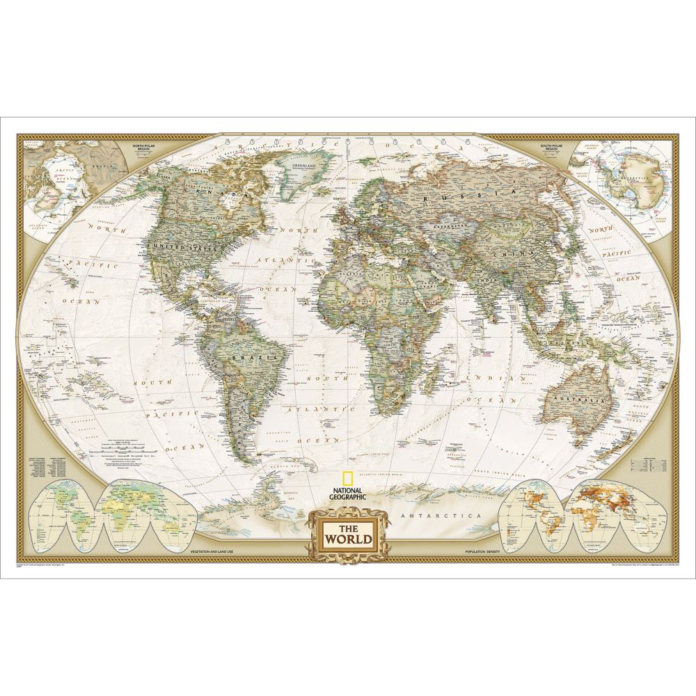 World Executive Wall Map Enlarged and Laminated  National