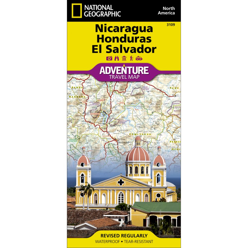 Nicaragua Honduras And El Salvador Adventure Map National - Monta in us map