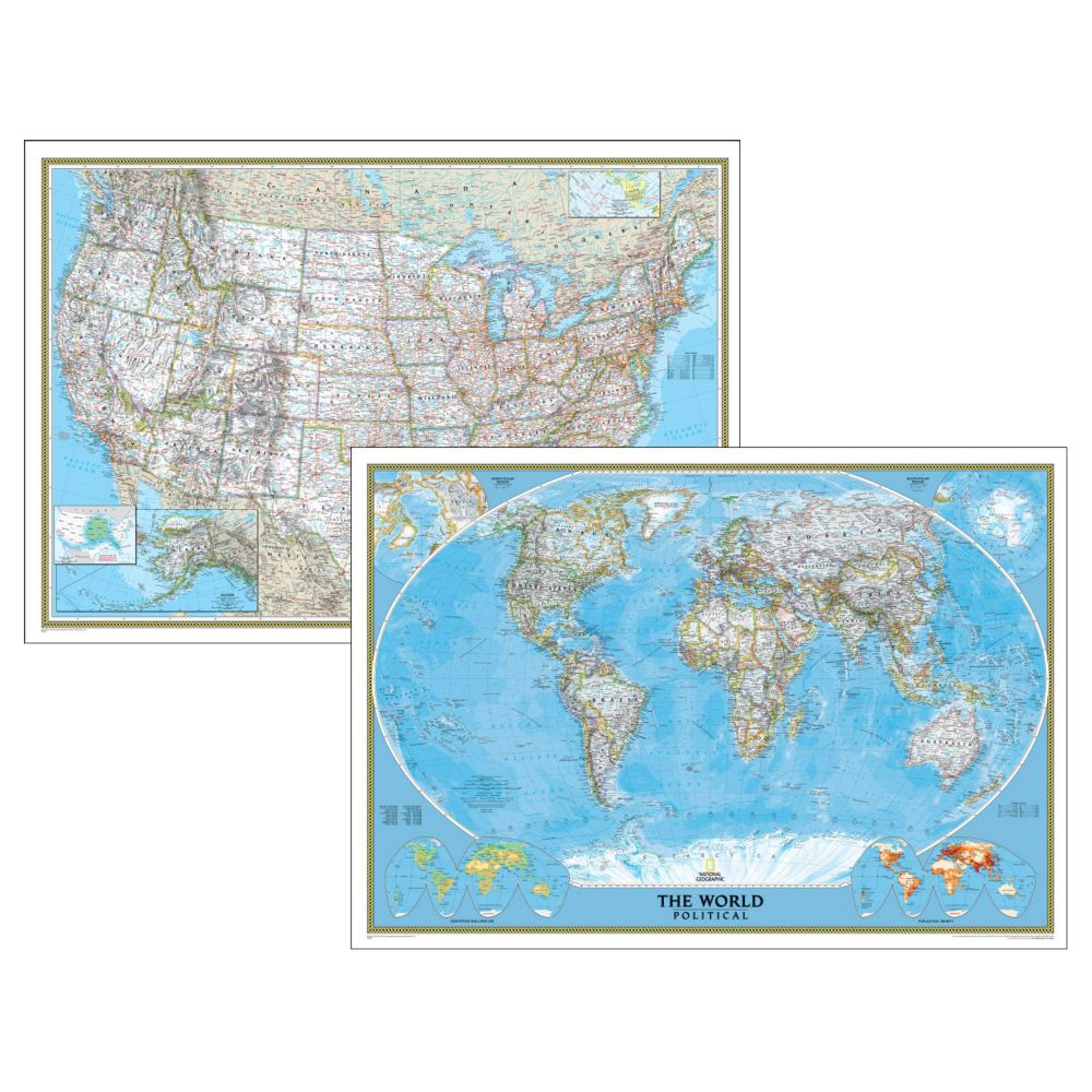 World Map Posters Wall Maps Of The World National Geographic Store - Roll up map of us