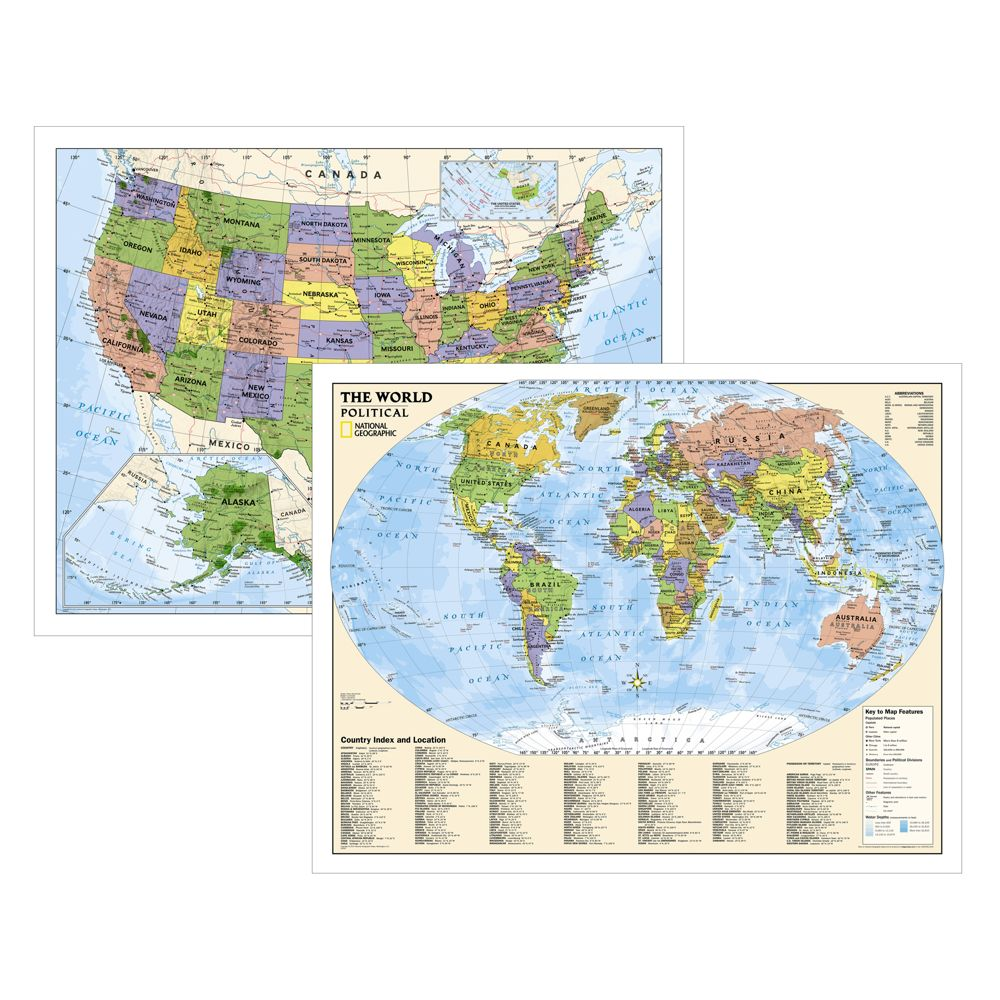 Political World And US Education Maps Grades National - World us map