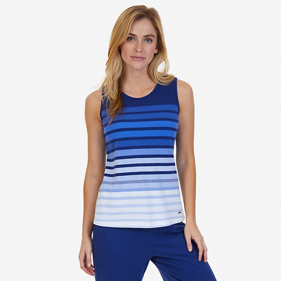 Ombré Stripe Sleep Tank - Aquamarine