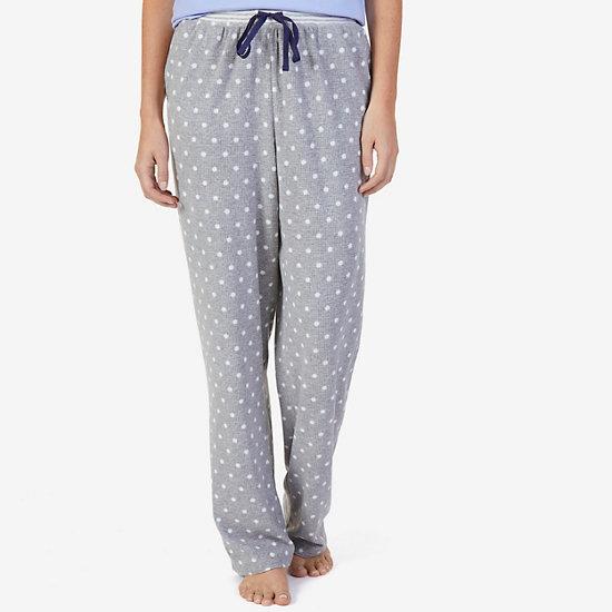 Polka Dot Waffle Knit Pajama Pants - Ice Mist