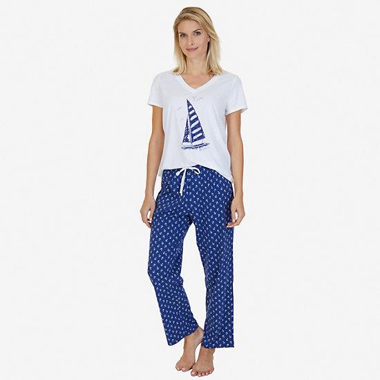 Printed Pajama Set - Bright White