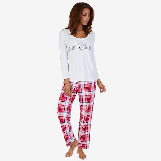 Graphic Sleep Tee & Printed Pant Pajama Set - undefined
