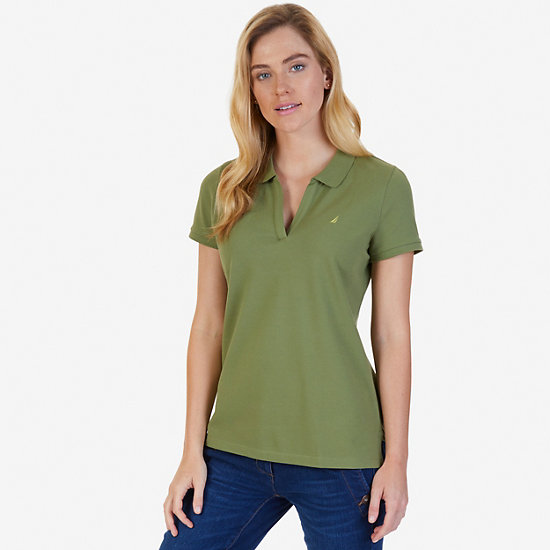 Split-Neck Polo Shirt - Light Olive