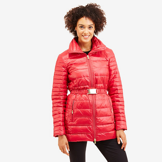 Long Down Puffer Coat,Nautica Red,large