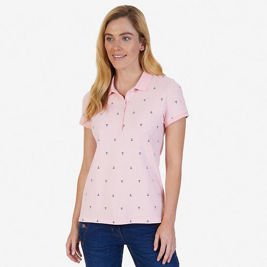 Allover Anchor Polo Shirt - Edgartown Red