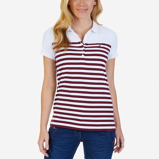 Striped Polo Shirt - Port Scarlet