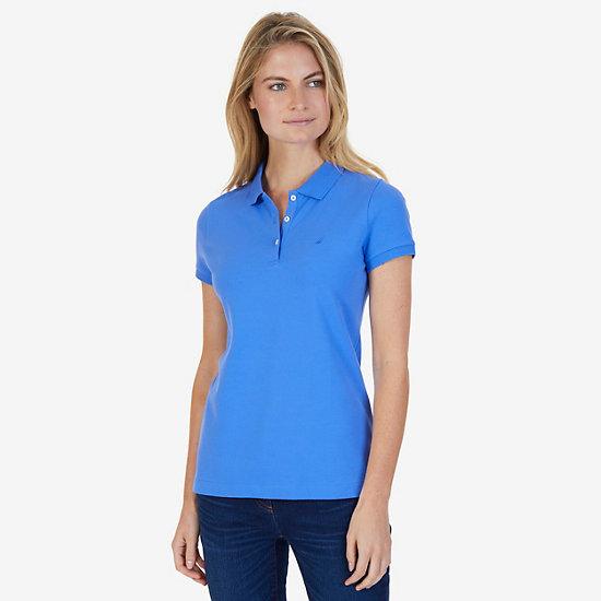 Classic Stretch Cotton Polo Shirt - Blue Bonnet
