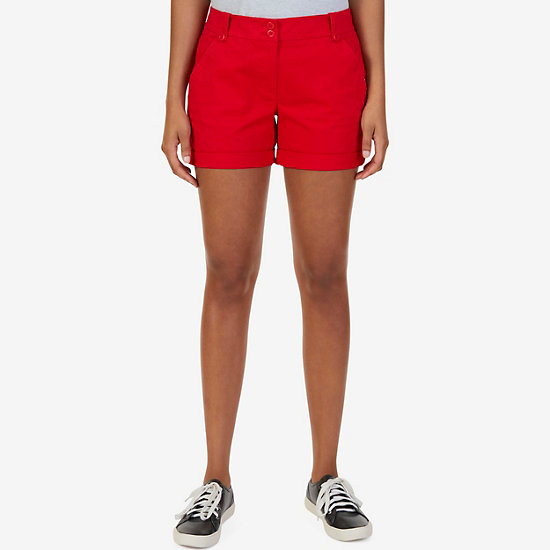 "Flat Front Stretch Twill Shorts - 7"" Inseam - Tomales Red"