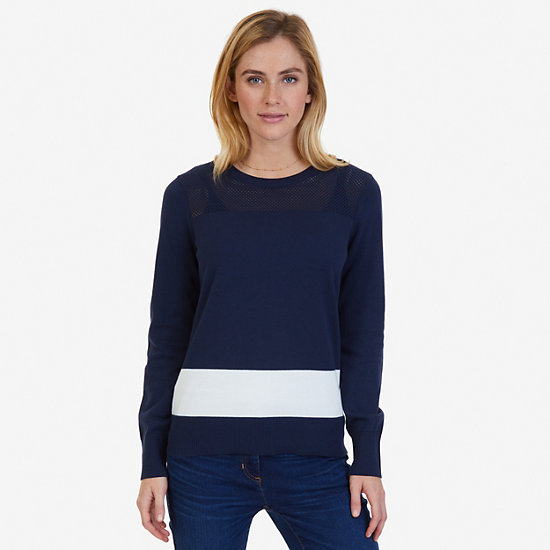 Textured Color Block Sweater,Deep Sea,large