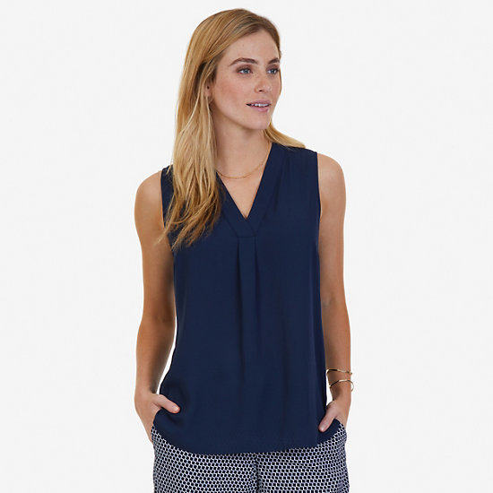 Sleeveless V-Neck Blouse - Dreamy Blue